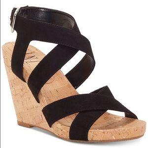 INC black strappy wedge sandal